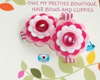 PRETTY IN PINK Pink-Hot Pink-White Wool Felt Flower Hair Clips Clippies Babies Toddlers Girls