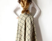 70s Plaid Swing Skirt Boho Flared Wool High Waist Prep a-line kilt, neutral color ivory cream & grey schoolgirl office frock