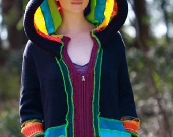 MTO Psychedelic UV glow Custom Recycled Sweater Coat Hoodie .Kaleidoscope  Guy Festival.Unisex Elf  Large Hippie Grateful Dead Furthur