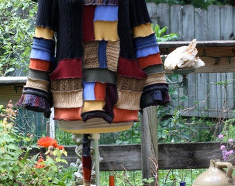 Made to order -custom Recycled Sweater Coat Hoodie.  Guy .Unisex  upcycled fairy Elf  Large Hippie Grateful Dead Furthur