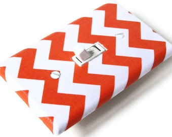 ORANGE CHEVRON Light Switch Cover Plate Switchplate