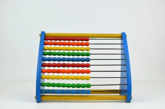 Vintage Playskool Primary Colors Wooden Abacus Counting Frame