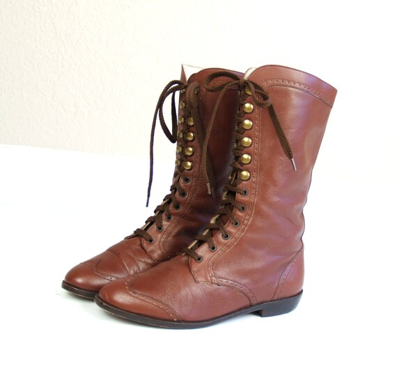 vtg 80s Brown Leather SPECTATOR lace up WINGTIP BOOTS oxfords 6 flats Victorian