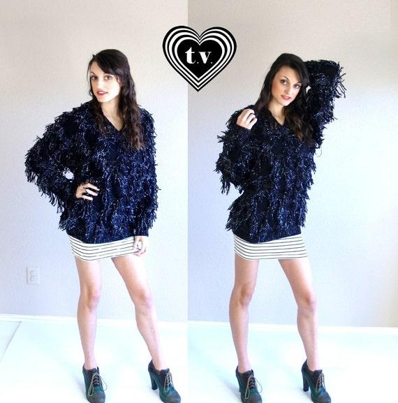 vtg 80s black SILVER metallic FRINGE avant garde chunky knit SWEATER jumper os shaggy oversized