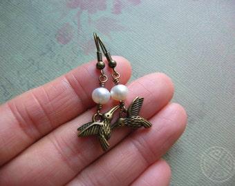 Hummingbird Earrings - Antique Bronze Hummingbird Charm and Freshwater Pearl Earrings