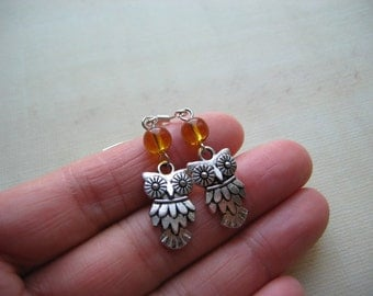 Owl Earrings - Antiqued Silver Owl Charm and Amber Czech Glass Earrings - Great Owl Gift