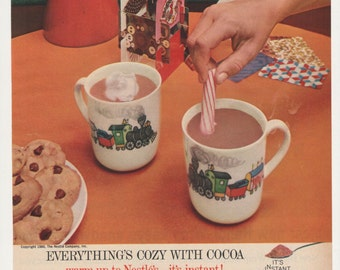1960 Advertisement Nestle's Cocoa with Burlington Trains Toy Collector Hot Chocolate Kitchen Christmas Holiday Wall Art Decor