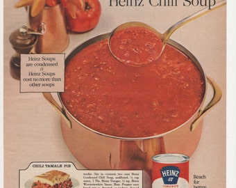1960 Advertisement Heinz Chili with Beef Soup Condensed 60s Cooking Food Kitchen Diner Coffee Shop Cafe Wall Art Decor