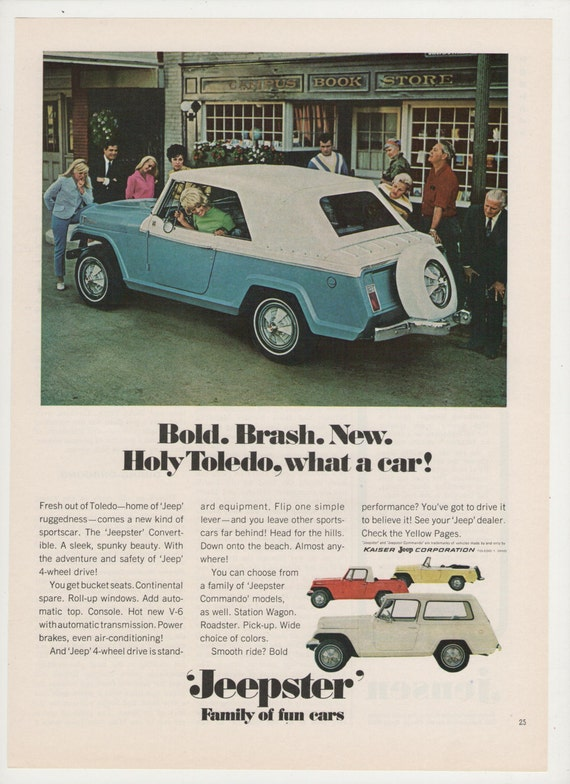 1967 jeep jeepster advertisement ad blue convertible by for Garage ad agde