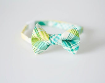 Baby Bow Tie - Aqua, Teal, and Yellow Plaid - Boys Bowtie