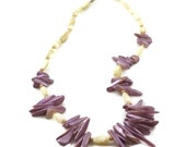 Lilac Necklace Sea Shell Lilac White Gold Beads Vintage Near Mint Condition