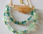 Mint on Aqua , sunshine in your garden gemstone  statement necklace 412