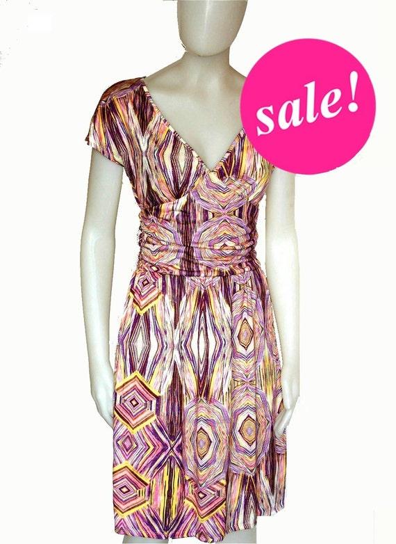 Mad men dress,SALE, purple dress, printed dress, retro 40s dress,50s dress,geometric print,draped waist,v-neck,short sleeves,knee length.