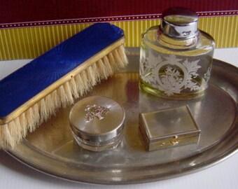 Vintage Women's Vanity Dressing Table Grooming Set and Tray