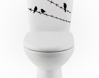 Birds on Barbed Wire wall DECALs- bird Home Decor, toilet, Vinyl Wall Art, Shower, Bathroom, Interior Design