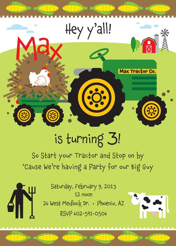 Farm Birthday Party Invitation for kids by TBoneSquid on Etsy