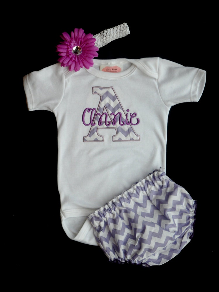 Chevron Personalized Baby Girl Clothes Newborn Girl by