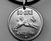 Dog Necklace.  Norway Coin Necklace. Norway Charm.  Norwegian key Chain. Husky  Key Ring . Ore  No.001152