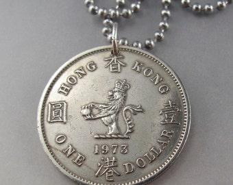 HONG Kong  Necklace. Hong Kong pendant -  Hong Kong coin pendant - coin necklace - mens jewelry.  No.001506