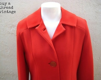 Vintage Mod Tomato Red Sabrina Coat by Classic Creations