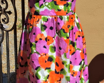 MODA BUSTIER Pink and Orange Water Color Floral Summer DRESS Size s