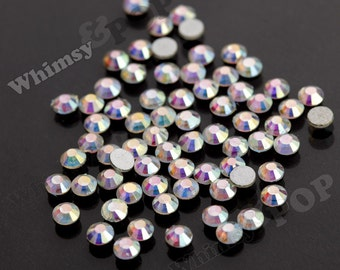 SS16 - 1 GROSS (144 pieces) Crystal AB Glass Rhinestones, SS16 No Hot Fix Flatbacks, 4mm Rhinestone, High Quality Glass Rhinestones (R4-111)