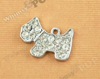 1 - Puppy Dog Rhinestone Crystal Silvertone Charm, Dog Charm,  19mm x 14mm (1-2E)