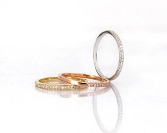 Diamonds wedding band, 14K Gold half eternity wedding band, total 0.25 carat diamonds . Payment Plan is available.