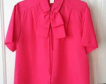60's Style Pink Bow Blouse - Mad Men