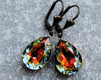 Dark Rainbow Swarovski Crystal Pear Drop Dangle Rhinestone Earrings Duchess Mashugana