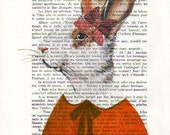 Acrylic painting portrait painting Illustration Original Prints Drawing Giclee Posters Mixed Media Art  Decor Gifts: Lady Rabbit