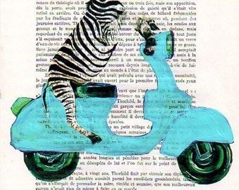 Mixed media prints posters Illustration Drawing acrylic paintings digital Giclee Valentine's Day : Zebra on Vespa