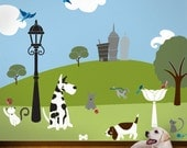 Cats and Dogs Wall Mural Stencil Kit for Baby Boys Room (stl1010)