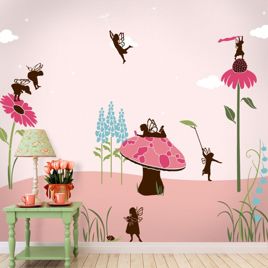 Fairy wall mural stencil kit girls room or baby nursery for Baby girl nursery mural