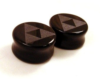 "3/4"" (19mm) 7/8"" (22mm) 1"" (25mm) Tri Force Black Glass Plugs Opaque Ear Gauges Triforce"