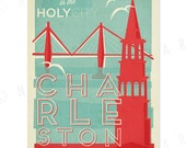 Charleston, South Carolina - 12 x 18 Retro Travel Print