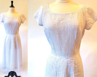 Vintage 50s Cotton Dress, Pale Blue Dress, 1950 Summer Dress, Cotton Sheath Dress