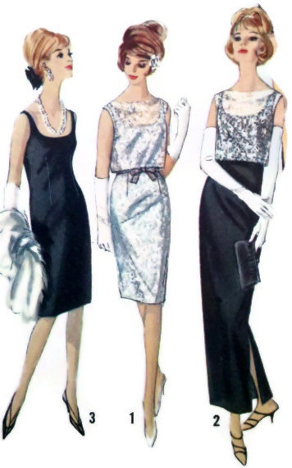 Simplicity 5698 Vintage Womens Sewing Pattern Mad Men Cocktail or Evening Length Sheath Dress Overblouse and Top Bust 38""