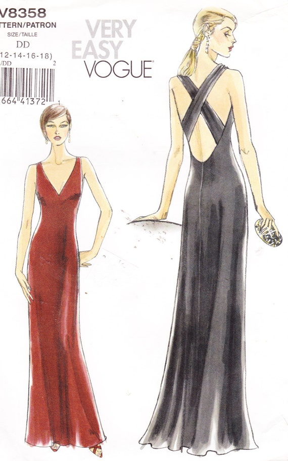 Womens Sewing Pattern Formal Evening Dress Vogue 8358 Sizes
