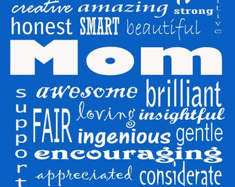 """MOM you're awesome blue 8x10"""" print gift for Mother's Day Mom's birthday"""