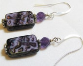 Handmade purple firepolished and amethyst earrings, genuine amethyst faceted stone, textured F.P. Beads