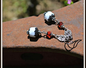 Black White and Red Earrings with Silver accents handmade jewelry gift