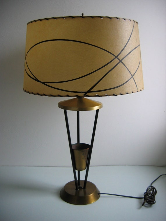 Vintage Atomic 50 S Lamp Amp Fiberglass Shade Brass And