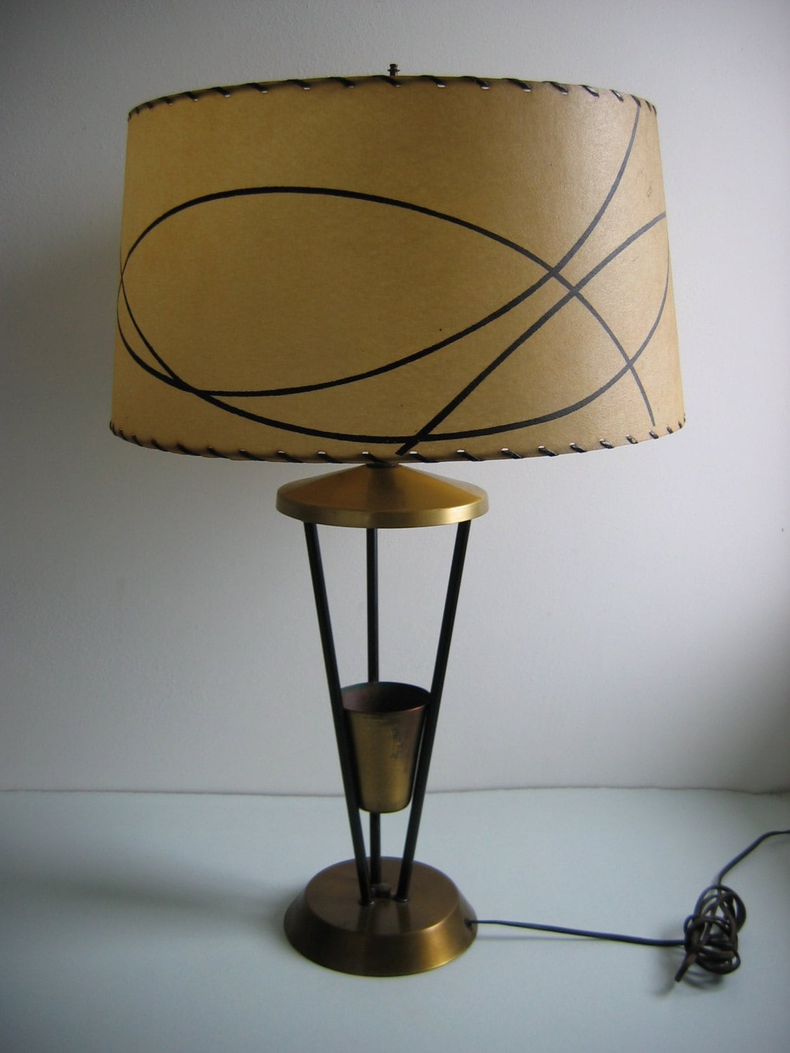 Vintage Atomic 50 S Lamp Amp Fiberglass Shade Brass And