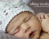 Baby Crochet Hat Pattern: 'Angel Cake' with Chiffon Flower, Baptism hat, Christening Hat, Party Hat