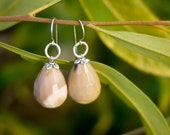 Faceted Mookaite Stone Earrings - Creamy Latte Colored