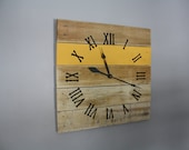 Large Pallet Wood Clock. Wall clock.  CUSTOM. Mustard Yellow. Gift Idea. Sunny. Kitchen clock. CUSTOM Color