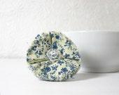Shabby Chic Blue n White Fabric Flower Rosette Pin