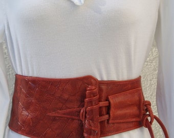 """Deep Dark Red Leather """"Croc"""" Corset Belt with Toggle and Tie"""