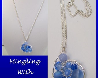 Blue beaded wire wrapped swirl